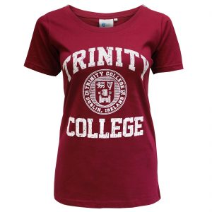 Burgundy/White Trinity College Seal Ladies Tee-Shirt TRIN4000 ExclusivelyIrish.com
