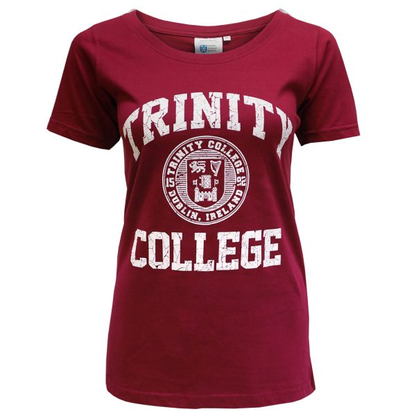 Traditional Craft Limited Burgundy/White Trinity College Seal Ladies T-Shirt TRIN4000 ExclusivelyIrish.com