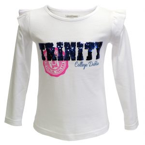Traditional Craft Limited White Trinity Sequin Kids Long Sleeve Top TRIN7000 ExclusivelyIrish.com