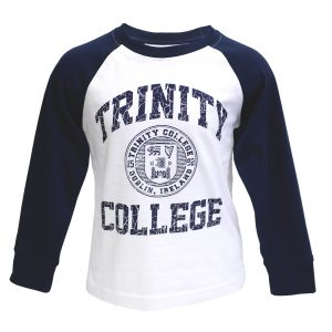 Traditional Craft Limited White-Navy Trinity College Seal Long Sleeve Top TRIN7002 ExclusivelyIrish.com