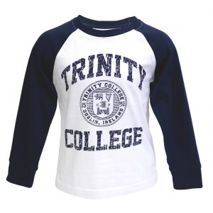 White-Navy Trinity College Seal Long Sleeve Top TRIN7002 ExclusivelyIrish.com