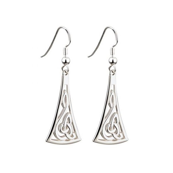 S33205 STERLING SILVER LONG CELTIC DROP EARRINGS - FAILTE exclusivelyirish.com