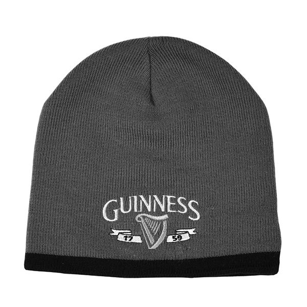 Traditional Craft Limited Guinness Grey Beanie Hat With Silver Logo And Black Trim G6164 ExclusivelyIrish.com