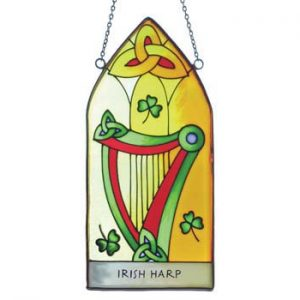 CL-0072-4 Royal Tara Irish Harp Gothic 20 x 9.5cm Window Hang ExclusivelyIrish.com
