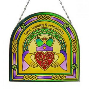 Claddagh Ring Arch Panel Royal Tara Stained Glass