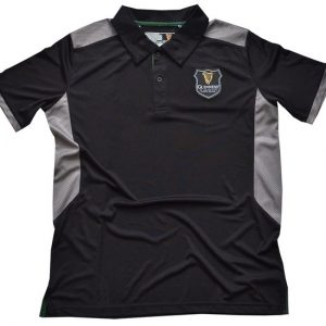 G2088 Traditional Craft Limited Black/Grey Guinness Harp Badge Performance Polo ExclusivelyIrish.com