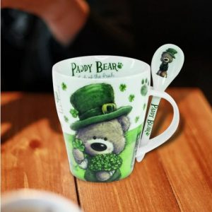 Paddy Bear Sprig Mug & Spoon 4792 ExclusivelyIrish.com