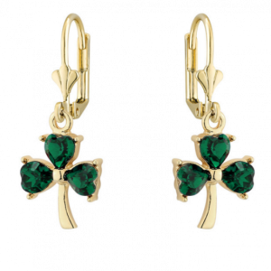 GOLD PLATED GREEN CRYSTAL SHAMROCK DROP EARRINGS S33579 ExclusivelyIrish.com