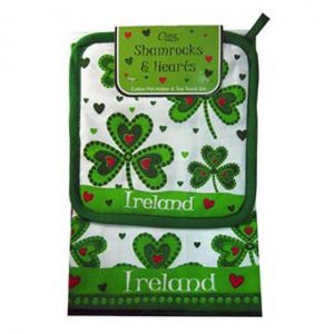 Lucky Shamrocks Hearts Tea Towel & Pot Holder Royal Tara