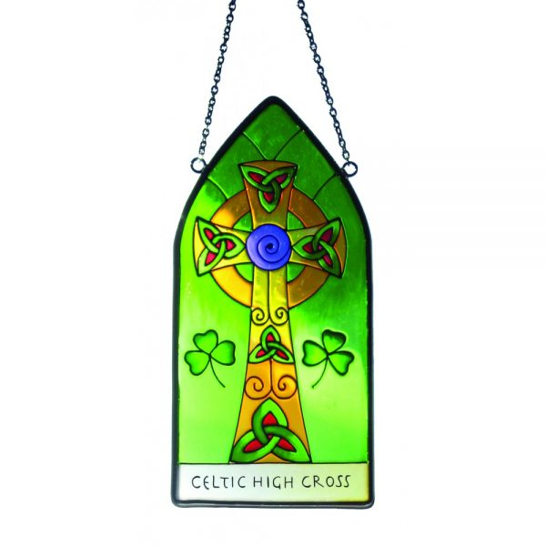 Royal Tara Stained Glass Hanging High Cross CL-0072-8 ExclusivelyIrish.com