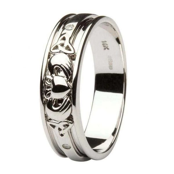 ShanOre Gents Gold Diamond Set Celtic and Claddagh Wedding Band ExclusivelyIrish.com