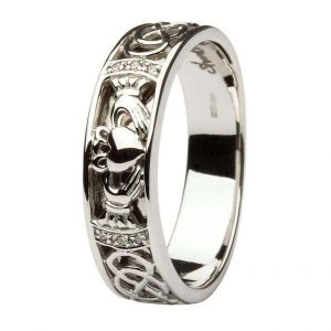 ShanOre Claddagh Wedding Band Gents Diamonds Set with Celtic Knotwork ExclusivelyIrish.com
