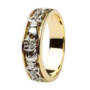 ShanOre Claddagh Wedding Ring Two Tone Ladies Diamonds Set with Celtic Knotwork ExclusivelyIrish.com
