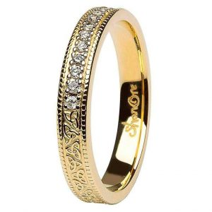 Celtic Trinity Knot Diamond Set 14K Yellow Gold Wedding Ring ExclusivelyIrish.com