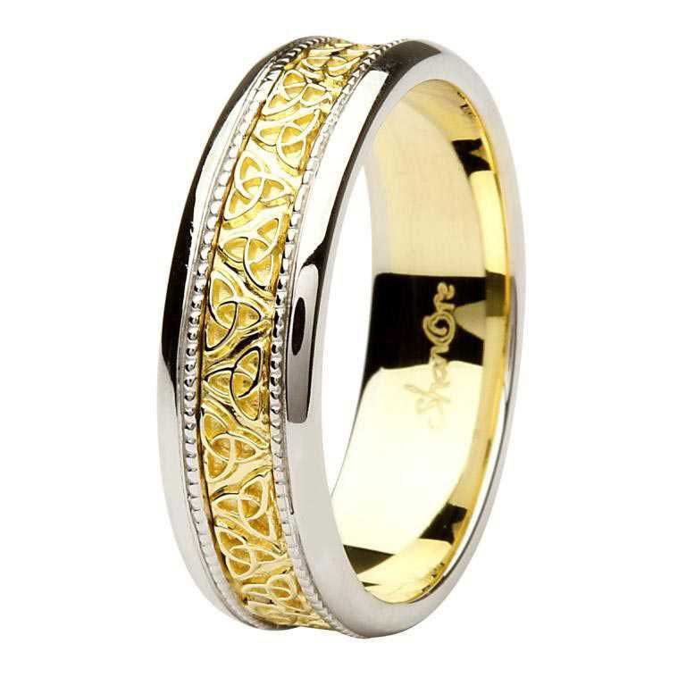 f1a78827db6 Celtic Trinity Knot Two Tone 14K Gold Gents Wedding Ring