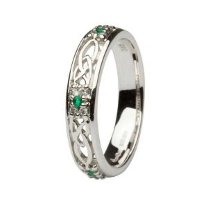 ShanOre Celtic Wedding Band Ladies Emerald and Diamond Set ExclusivelyIrish.com