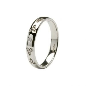 ShanOre Ladies Celtic Embossed Pressure Set Diamond Wedding Ring ExclusivelyIrish.com