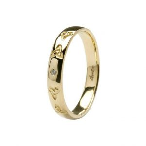 ShanOre Gents Celtic embossed pressure set Diamond wedding band ExclusivelyIrish.com