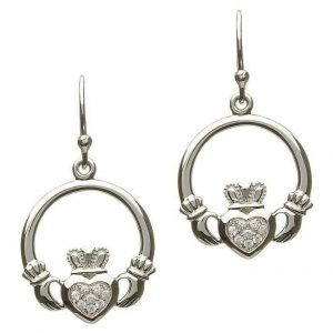 SHSE2057 Sterling Silver PaveSet Claddagh Earrings https://www.exclusivelyirish.com