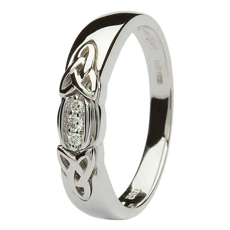 Celtic Knot Wedding Bands.Ladies Celtic Trinity Knot 3 Stone Diamond Wedding Band