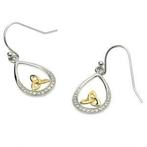 SE2073CZ Silver Stone Set Earrings with Gold-Plated Trinity exclusivelyirish.com