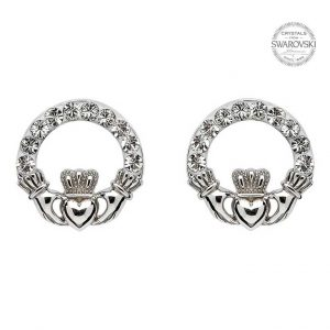 Shanore Claddagh Stud Earrings Adorned with Swarovski Crystals SW47 ExclusivelyIrish.com