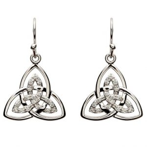Shanore Stone Set Trinity Knot Earrings SE2113CZ ExclusivelyIrish.com