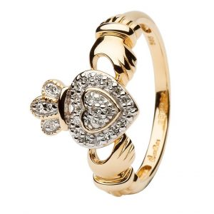 ShanOre Ladies 14K Yellow Gold Claddagh Ring Encrusted With Diamonds ExclusivelyIrish.com