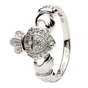 ShanOre Ladies 14K White Gold Claddagh Ring Encrusted With Diamonds ExclusivelyIrish.com