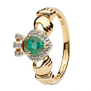 ShanOre Ladies Yellow Gold Claddagh Ring Set With Emerald And Diamond ExclusivelyIrish.com