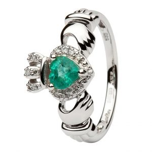 ShanOre Ladies White Gold Claddagh Ring Set With Emerald And Diamond ExclusivelyIrish.com