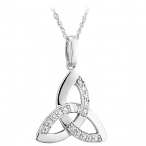 Solvar 14K White Gold & Diamond Trinity Knot Pendant S44415 ExclusivelyIrish.com