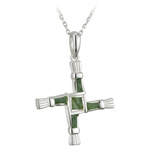 Solvar Silver Connemara Marble St. Brigid's Cross Pendant S44703 ExclusivelyIrish.com