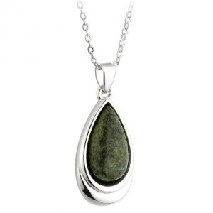 Solvar Rhodium Connemara Marble Teardrop Pendant S45315 ExclusivelyIrish.com