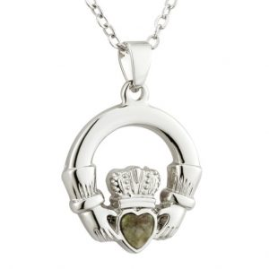 Solvar RHODIUM CONNEMARA MARBLE CLADDAGH PENDANT S45511 ExclusivelyIrish.com