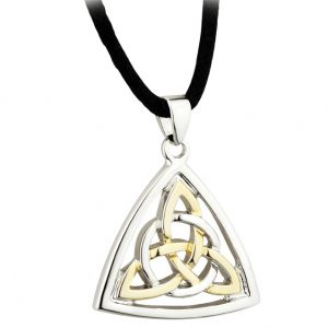 Solvar TWO TONE CELTIC KNOT PENDANT S45513 ExclusivelyIrish.com