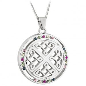 Solvar RHODIUM BOK CRYSTAL ROUND CELTIC PENDANT S46263 ExclusivelyIrish.com