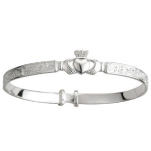 Solvar Sterling Silver Irish Baby Bangle Claddagh Bracelet S5268 ExclusivelyIrish.com