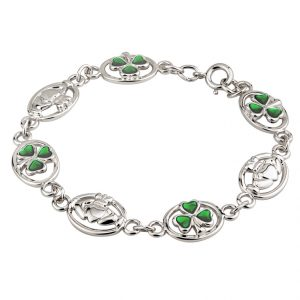 Solvar RHODIUM OVAL CLADDAGH & ENAMEL BRACELET S5514 ExclusivelyIrish.com
