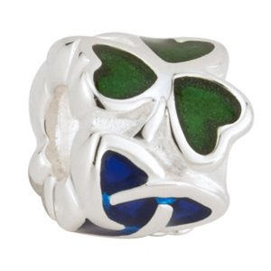 Solvar Bead Charm with Green Shamrocks & Blue Trinity Knot S80128 ExclusivelyIrish.com