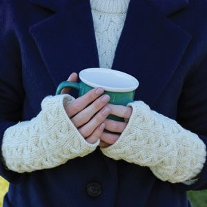 Long Fingerless Mittens Natural B546 ExclusivelyIrish.com