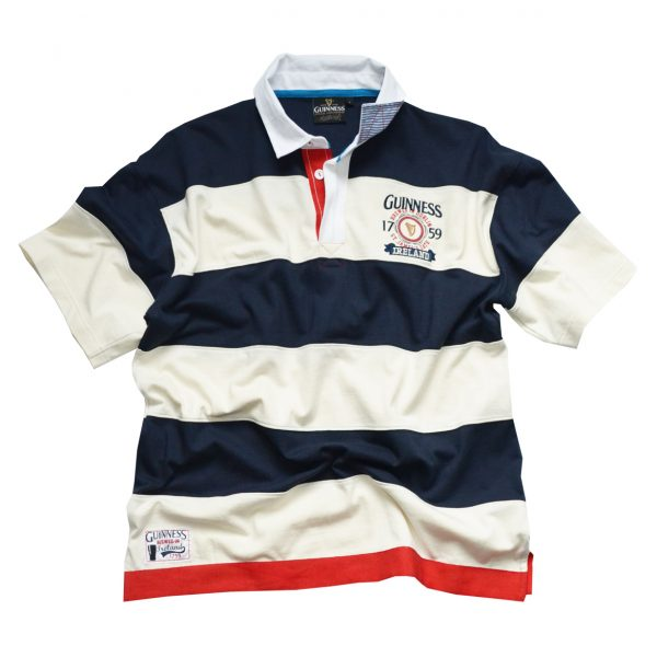 Traditional Craft Limited Guinness Navy And Natural Colour Polo Shirt With 1759 Ireland Crest G3063 ExclusivelyIrish.com