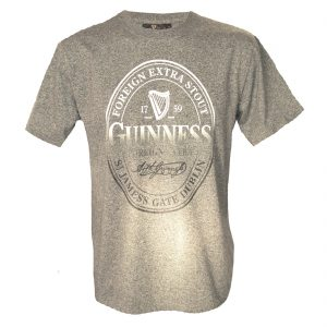 Traditional Craft Limited Guinness T-Shirt With Foreign Extra Stout Bottle Label Print, Grey H1075 ExclusivelyIrish.com
