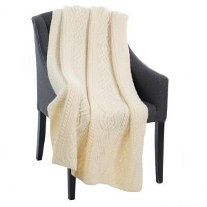 Saol Dara Merino Wool Aran Throw MT100-100 Natural ExclusivelyIrish.com