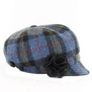 Muckross Weavers Mucros Weavers Irish Hat Flapper Style Blue/Green Plaid MWFH772-2 ExclusivelyIrish.com