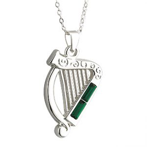 Solvar Silver Plated Crystal Harp Pendant S45251 ExclusivelyIrish.com