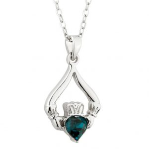 Solvar Rhodium Claddagh Birthstone Pendant - May S45597/5 ExclusivelyIrish.com