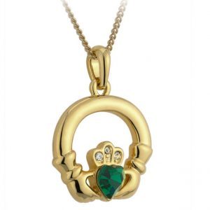 Solvar Gold Claddagh Heart Emerald Pendant S4709 ExclusivelyIrish.com