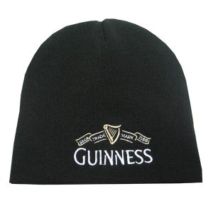 Traditional Craft Limited Guinness Black Beanie Hat with White Guinness Trademark Logo G6132 ExclusivelyIrish.com