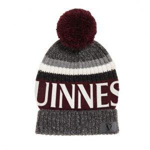 G6216-OS Burgandy Guinness Speckle Striped Bobble Hat exclusivelyirish.com